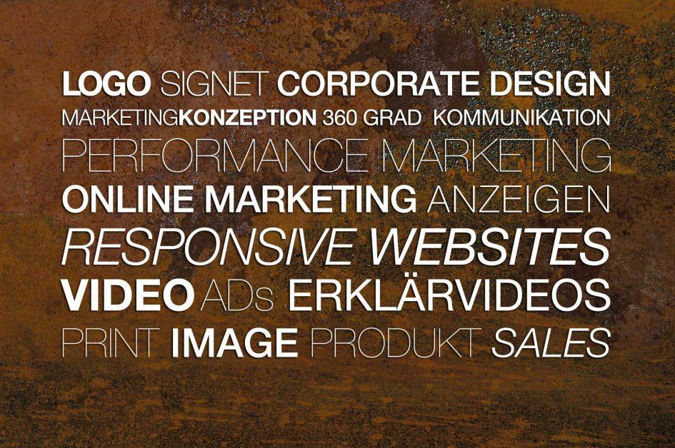 logo, signet, corporate design, 360 grad kommunikation, marketing konzeption, performance marketing, responsive websites und homepages, video-anzeigen, erklärvideos, explainer video, print, imagebroschüre, produktflyer, sales-marketing und pos-ausstattung,